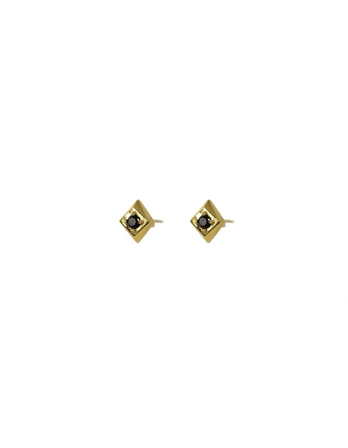 Set Diamond Studs in 18k Gold and Black Spinel