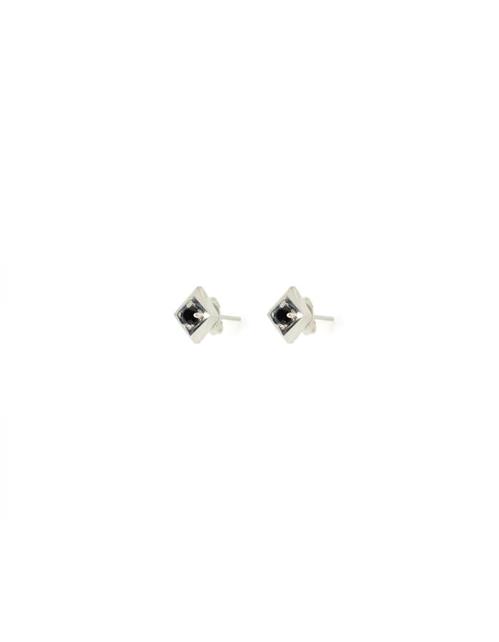 Set Diamond Studs in Sterling Silver and Black Spinel