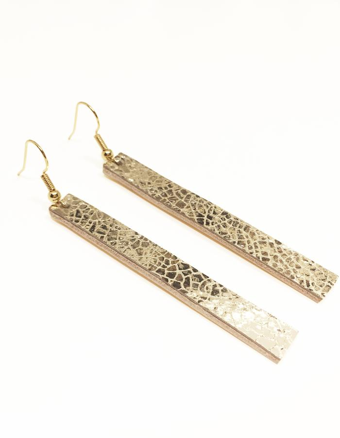 Isabel Wong Gold Leather Short Drop Down Earrings Gold Plated