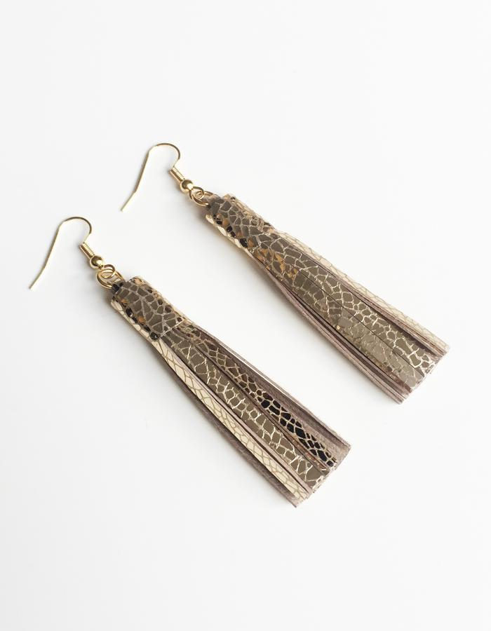 Isabel Wong Omega Collection Leather Tassel Earrings Metallic Mosaic Gold