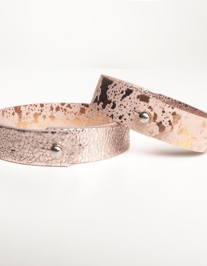Isabel Wong Omega Collection Leather Cuff Pink/Copper