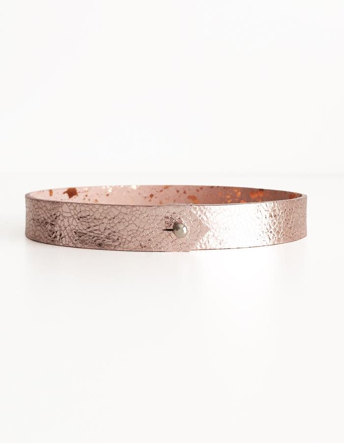 Isabel Wong Omega Collection Leather Choker Pink/Copper