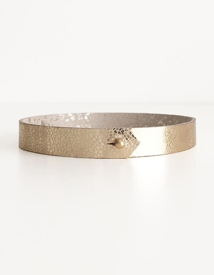 Isabel Wong Omega Collection Leather Choker Gold/Platinum