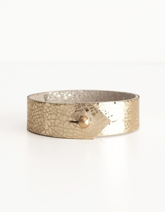 Isabel Wong Omega Collection Leather Cuff Gold/Platinum