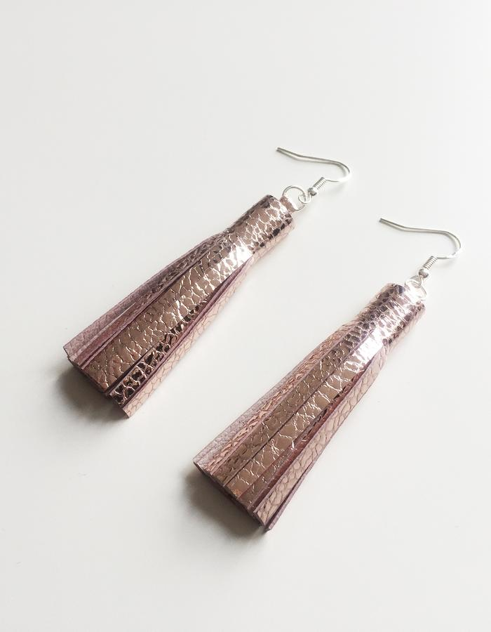 Isabel Wong Omega Collection Leather Tassel Earrings Metallic Mosaic Pink