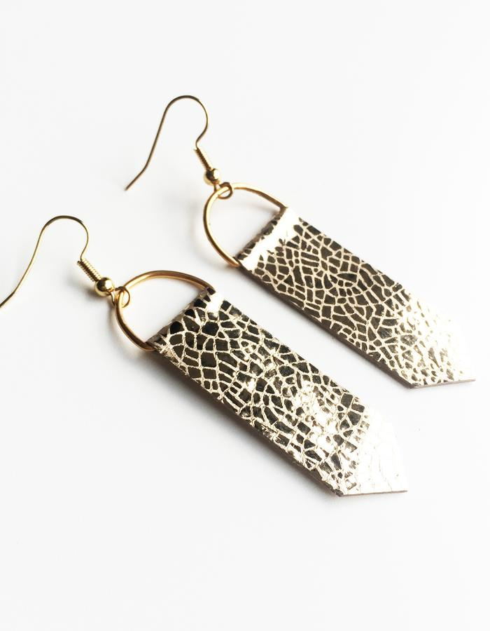 Isabel Wong Omega Collection Leather Arrow Earrings Metallic Mosaic Gold