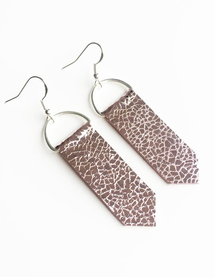Isabel Wong Omega Collection Leather Arrow Earrings Metallic Mosaic Pink
