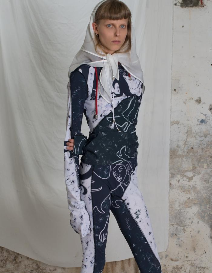 Printed nylon top and legging with medieval lazy girl print, light weight nylon as headscarf