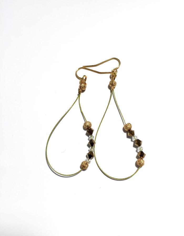 Colored wire and floating Swarovski Earrings