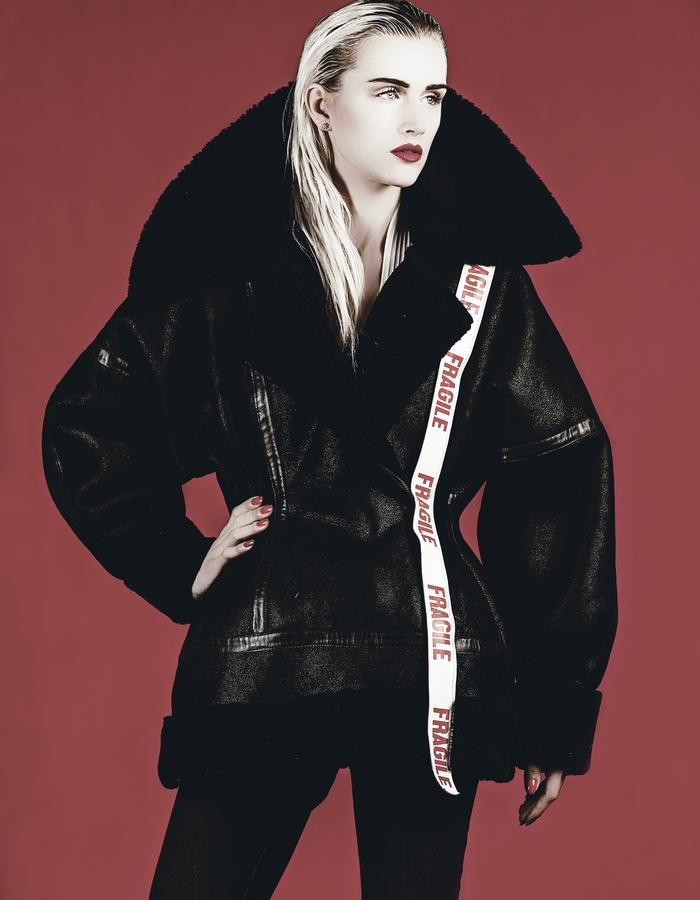ksrt black shearling coat
