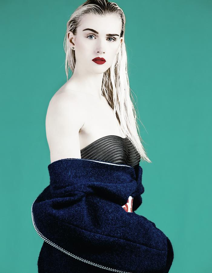ksrt blue wool coat with glass beads