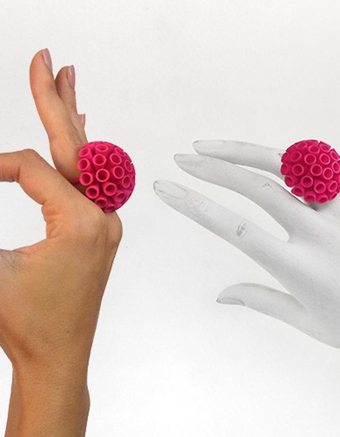 POMPON Ring • Fuxia