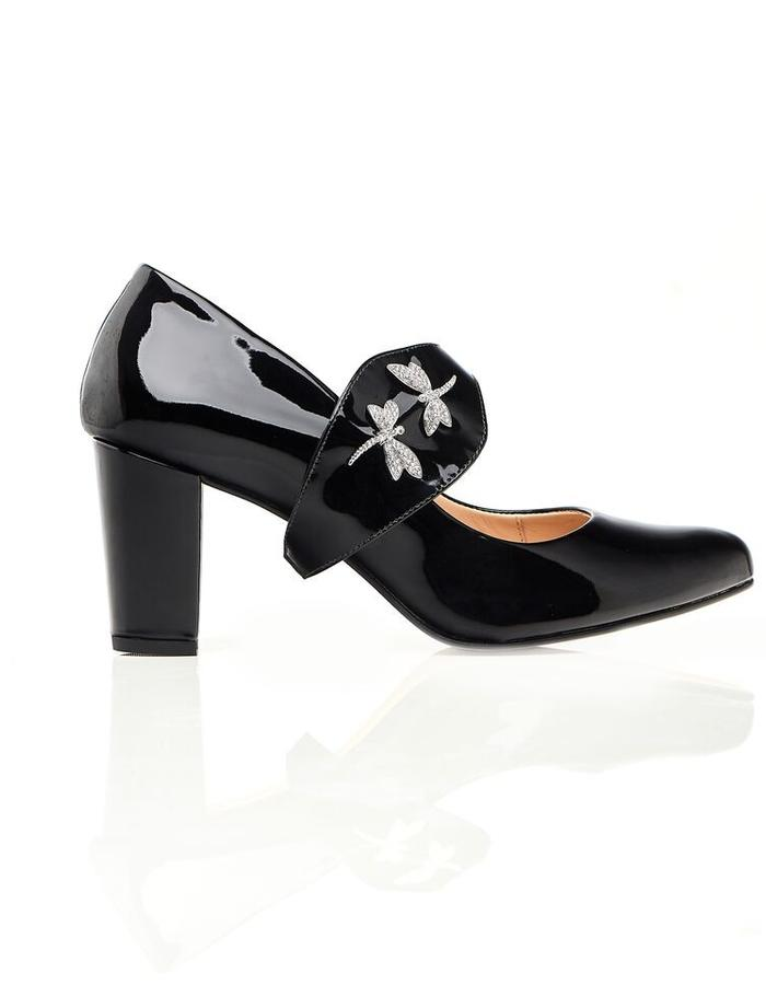 Black block heel with silver dragonflies