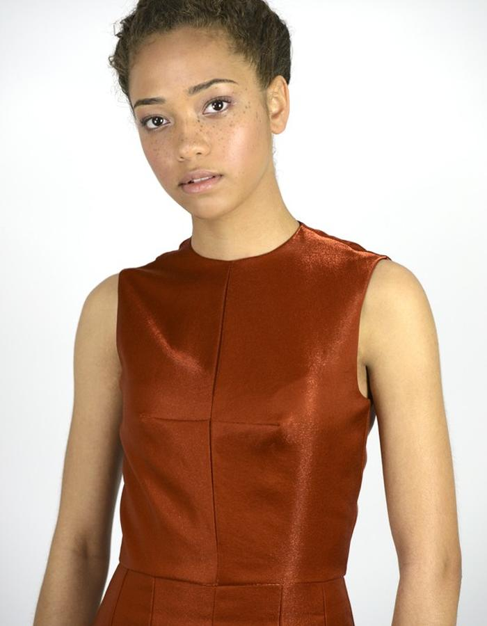Stahl Dress. A modernist dress cut in Japanese copper wool. WALDMANN COLLECTION 1 - designed by Elle Waldmann.