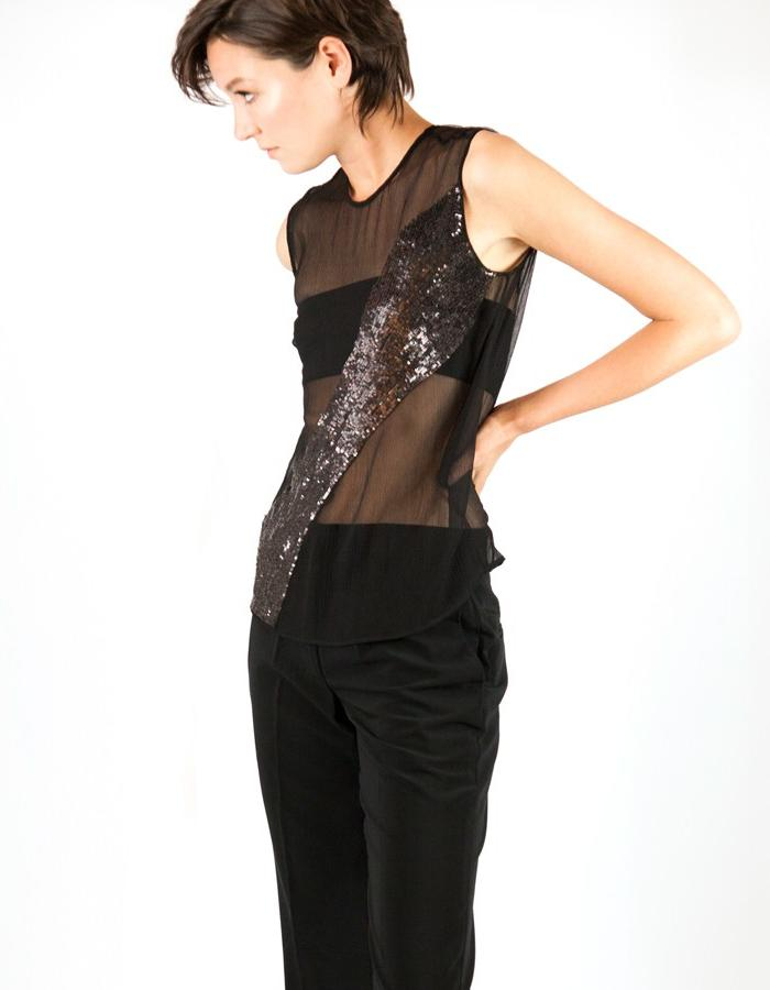 Horizon Top. Hand embroidered dark bronze sequin work on silk. WALDMANN COLLECTION 1 - designed by Elle Waldmann.