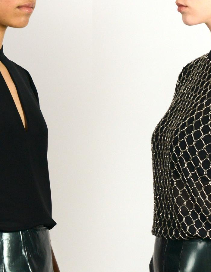 Duo shot of the La Brea top, a collared silk tee with geometric detailing, and the Franklin top feturing a hand embroidered chainlink motif. WALDMANN collection 1. Elle Waldmann