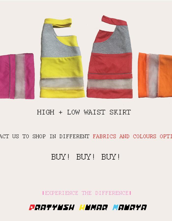 High + low waist skirt