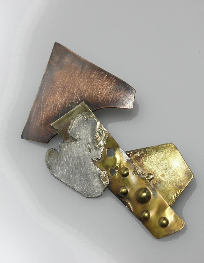 pin - copper, brass, sterling silver, patina