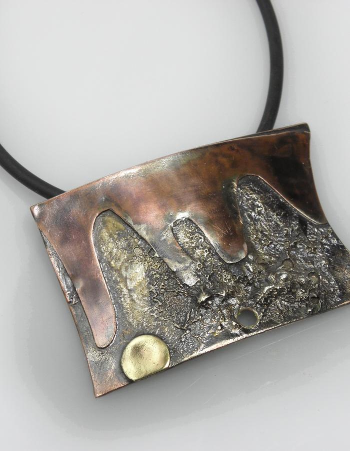 pendant - copper, sterling silver, brass, patina