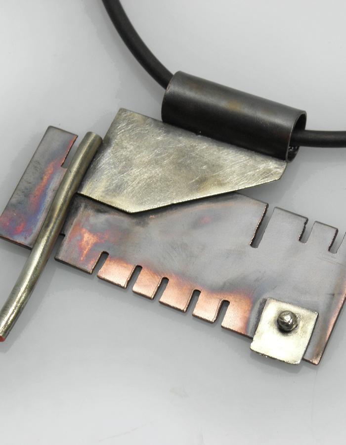 pendant - copper, sterling silver, patina