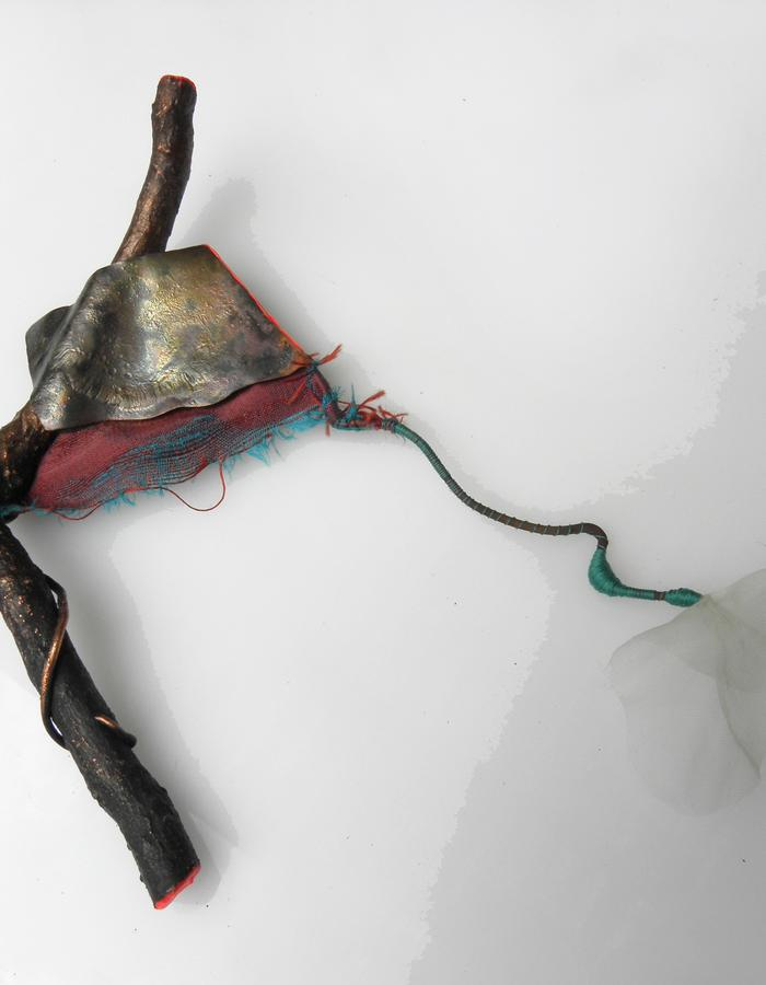 """BROOCH """"FLUID FLOWER"""" - electroformed wood, shantung and transparent silk, copper, sterling silver, threads, color"""