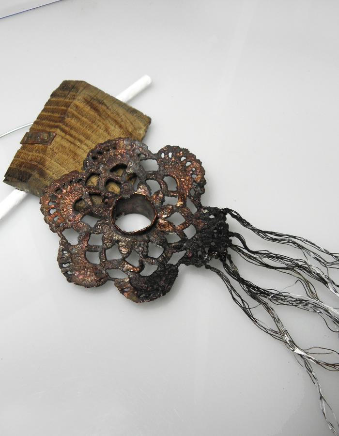 TRACES OF WHITENESS - Sculptural shaped brooch  in wood, elecroformed cotton lace transformed in copper, threads and color