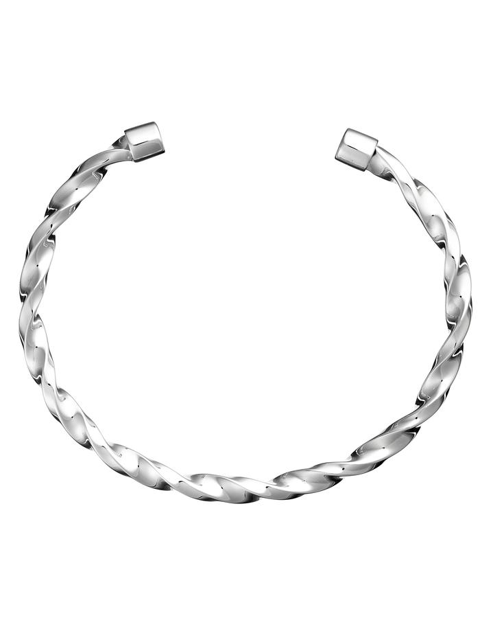 Drill Bangle, high polished, sterling silver
