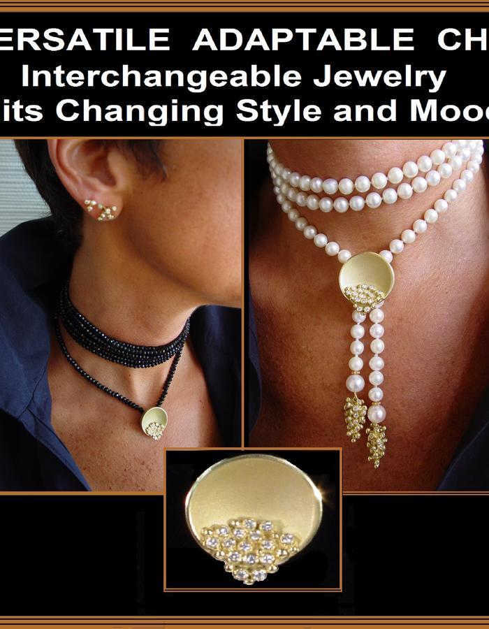 Bowl of Overflowing Diamonds pearl enhancer, Jane Gordon jewelry, gold diamonds pearls black tourmaline