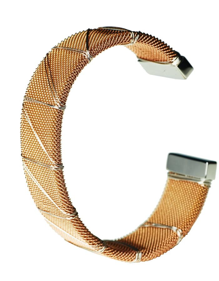 Rose Gold Bound Steel Bangle (L)