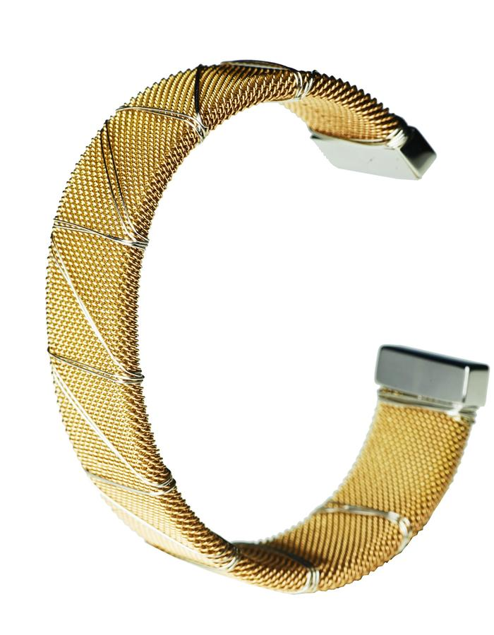 Gold Bound Steel Bangle (L)