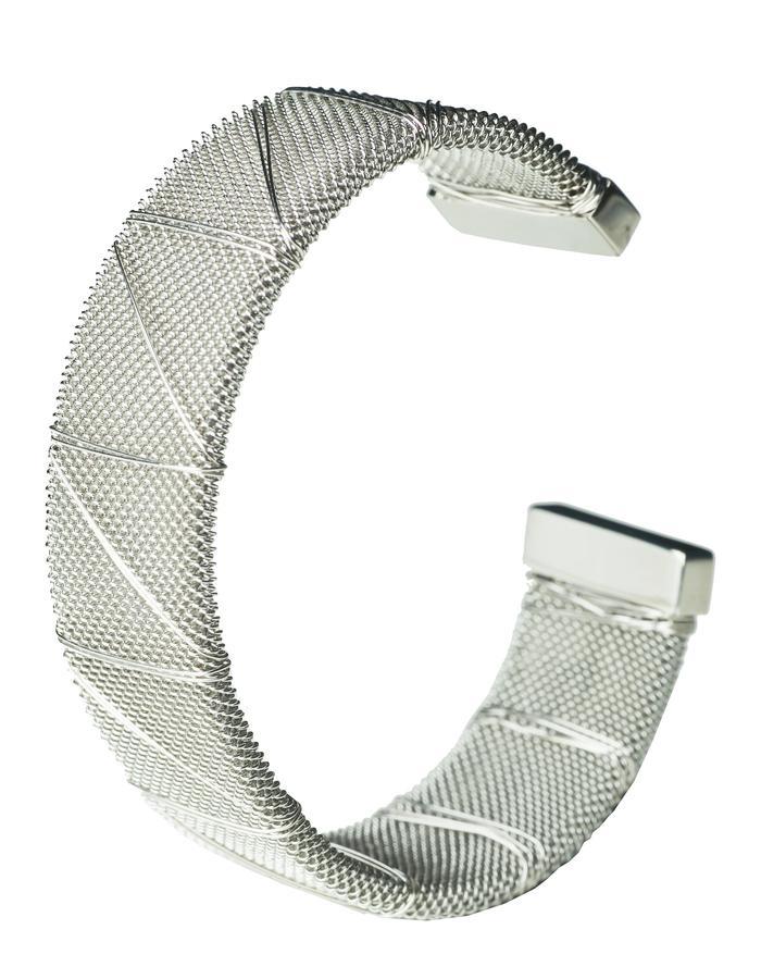 Rhodium Bound Steel Bangle (L)