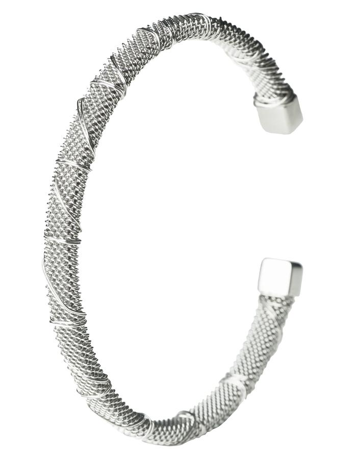 Rhodium Bound Steel Bangle (s)