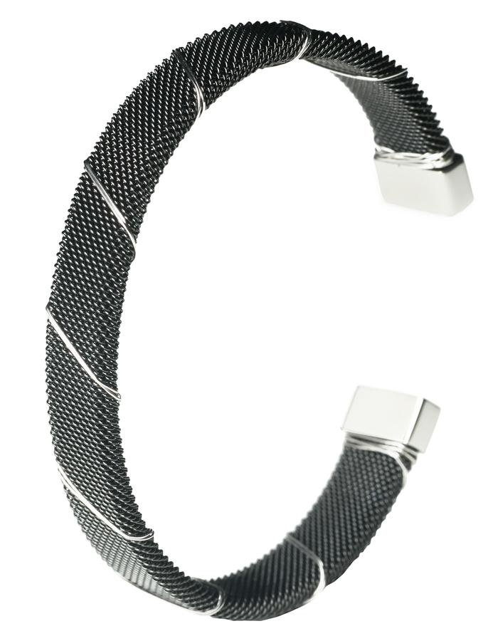 Black Rhodium Bound Steel Bangle (m)