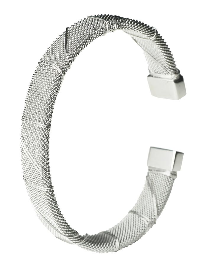 Rhodium Bound Steel Bangle (m)
