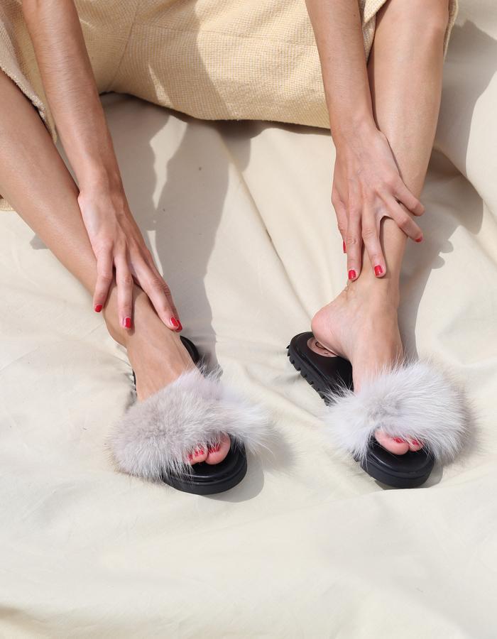 Grey Fur Slippers