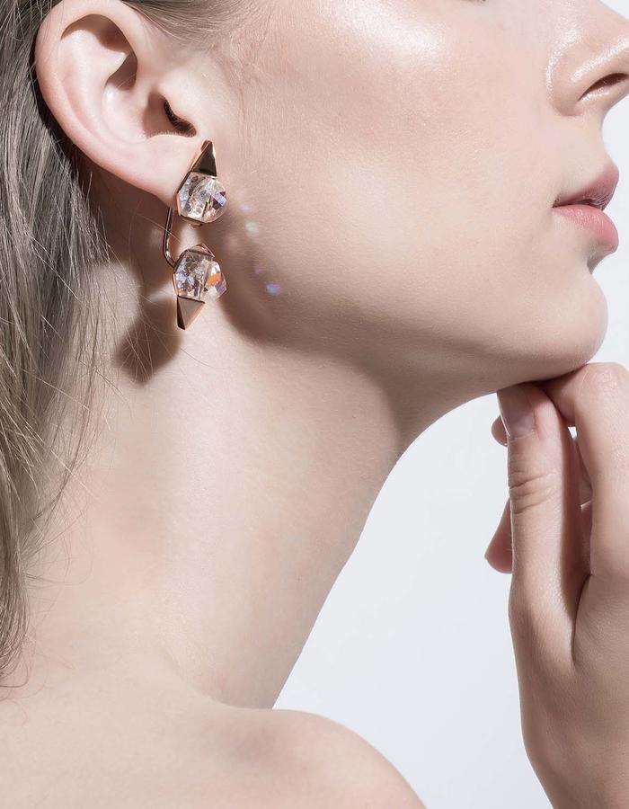 jittrakarn, jewellery, earrings, swarovski, futuristic, design, iridescent, invisible, collection