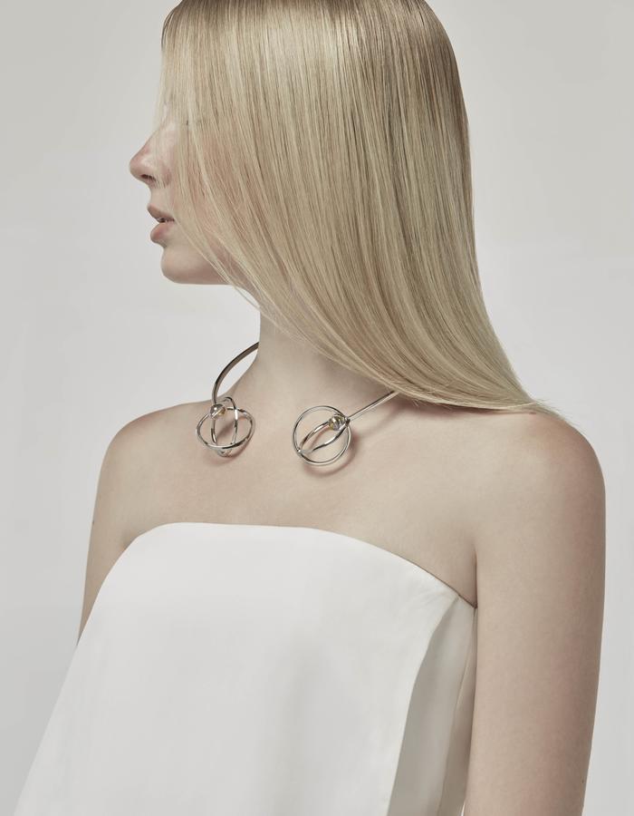 jittrakarn, jewellery, necklace, ring, swarovski, futuristic, design, iridescent, moon, collection