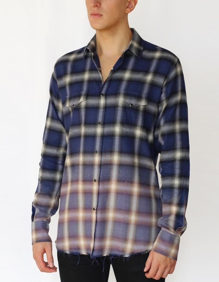 bleach distressed shadow plaid western shirt - klein blue/violet