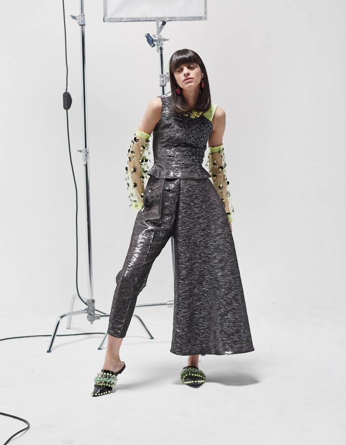 LONGSHAW WARD SS18 LOOK 22 - lace and metallic top with metallic asymmetric trousers