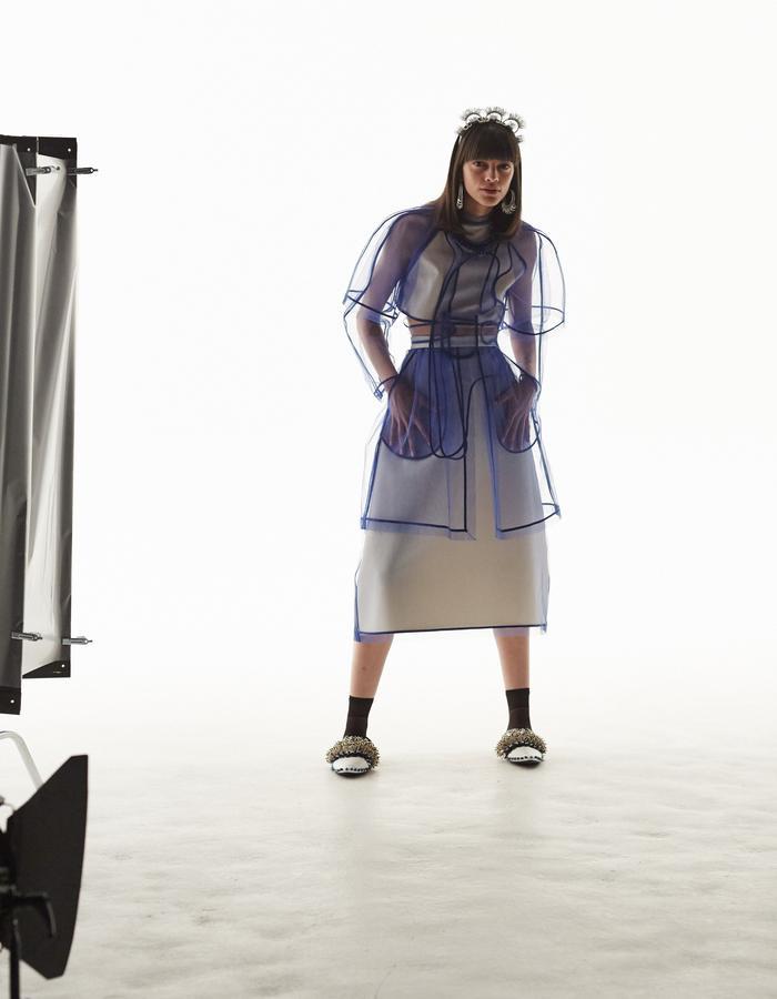 LONGSHAW WARD SS18 LOOK2 blue net top and skirt