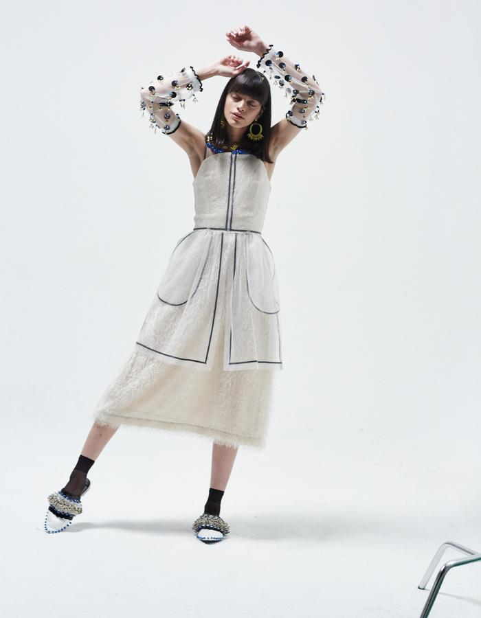 LONGSHAW WARD SS18 LOOK3 - cream net and fringe dress