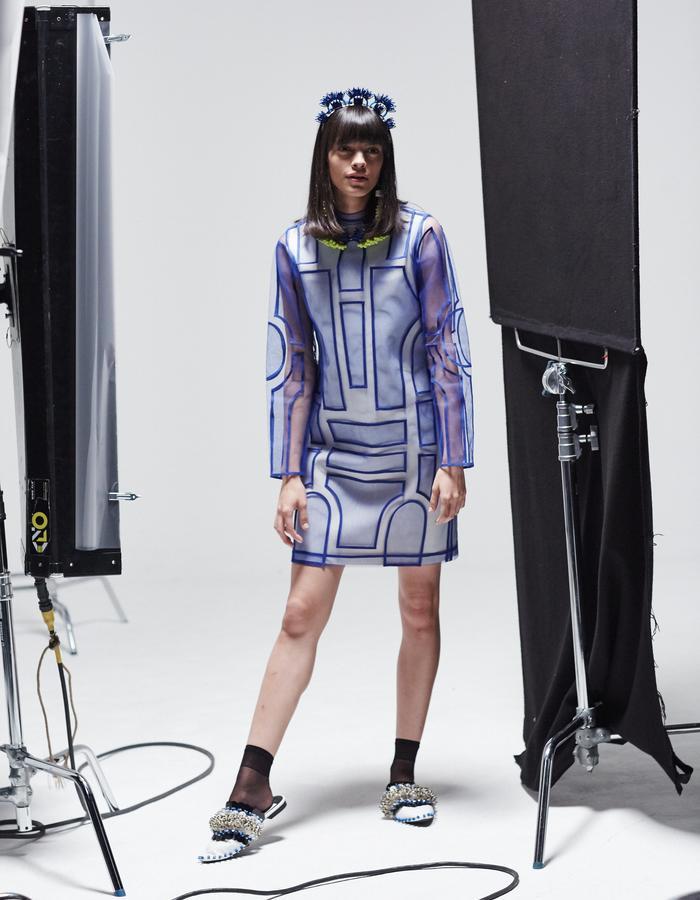 LONGSHAW WARD SS18 LOOK 5 - blue net appliqué dress