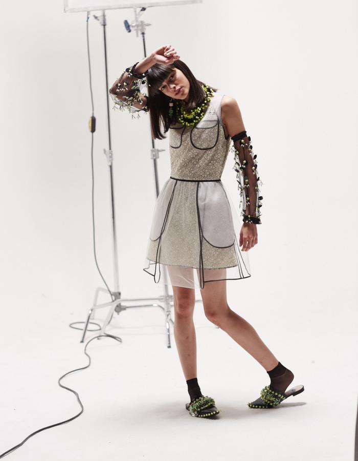 LONGSHAW WARD SS18 LOOK 8 -lace and airtex dress