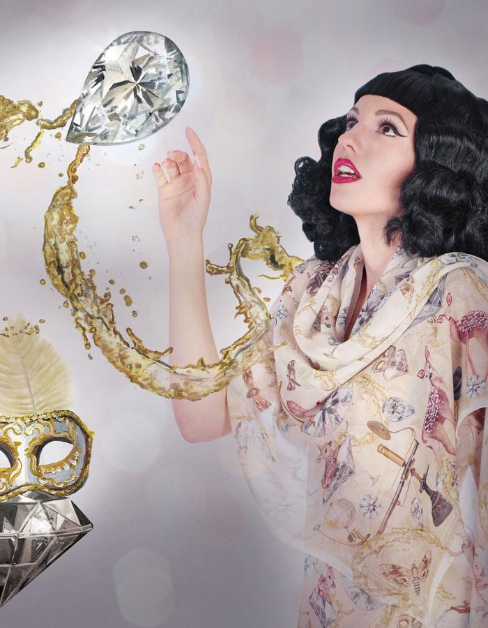 """diamond"" silk scarf by Fiona K. 180cm x 70cm, 100% silk"