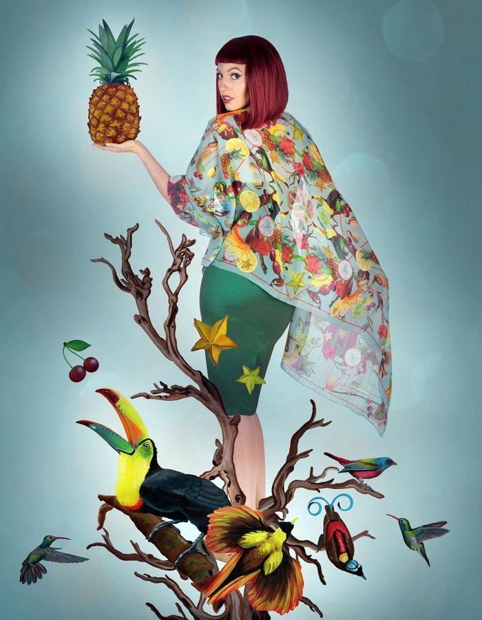 """tropical"" silk scarf by Fiona K. 180cm x 70cm, 100% silk"