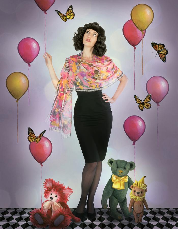 """""""pink boudoir"""" silk scarf by Fiona K. 180cm x 70cm, 100% silk"""