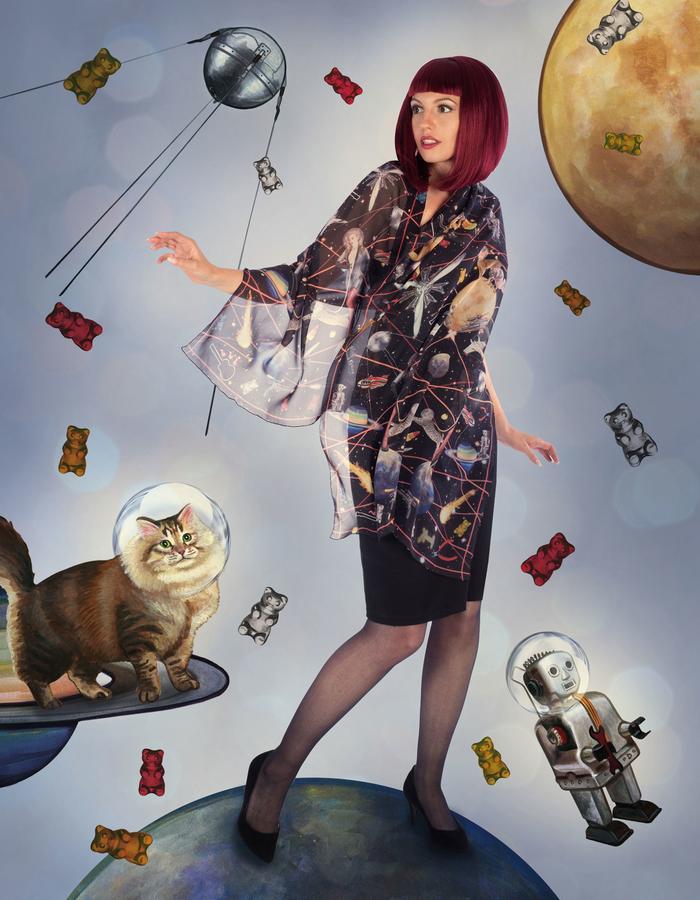 """space girl"" silk scarf by Fiona K. 180cm x 70cm, 100% silk"