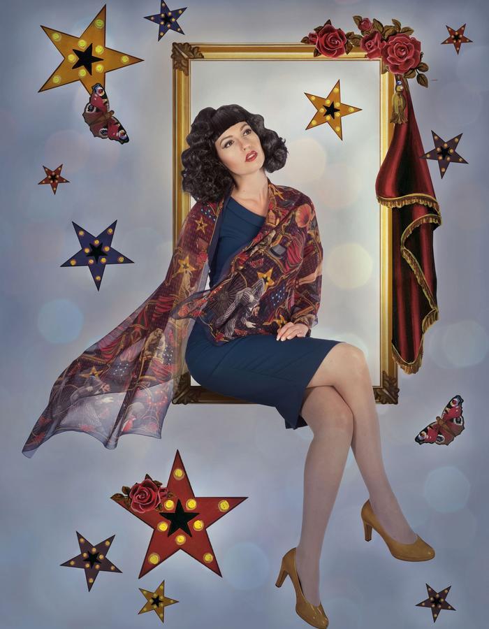 """variete theater"" silk scarf by Fiona K. 180cm x 70cm, 100% silk"
