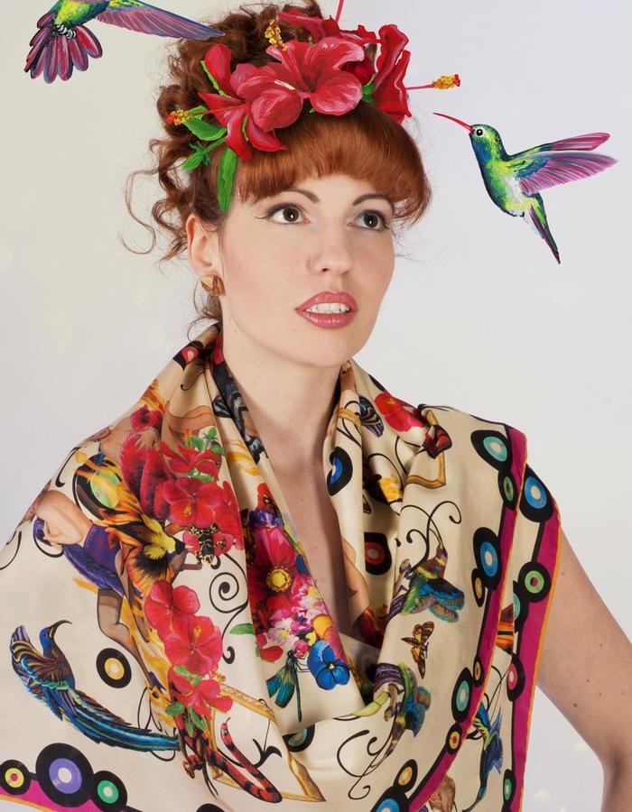 """girls on fire""scarf by Fiona K. 120cm x 120cm, 100% twill silk"