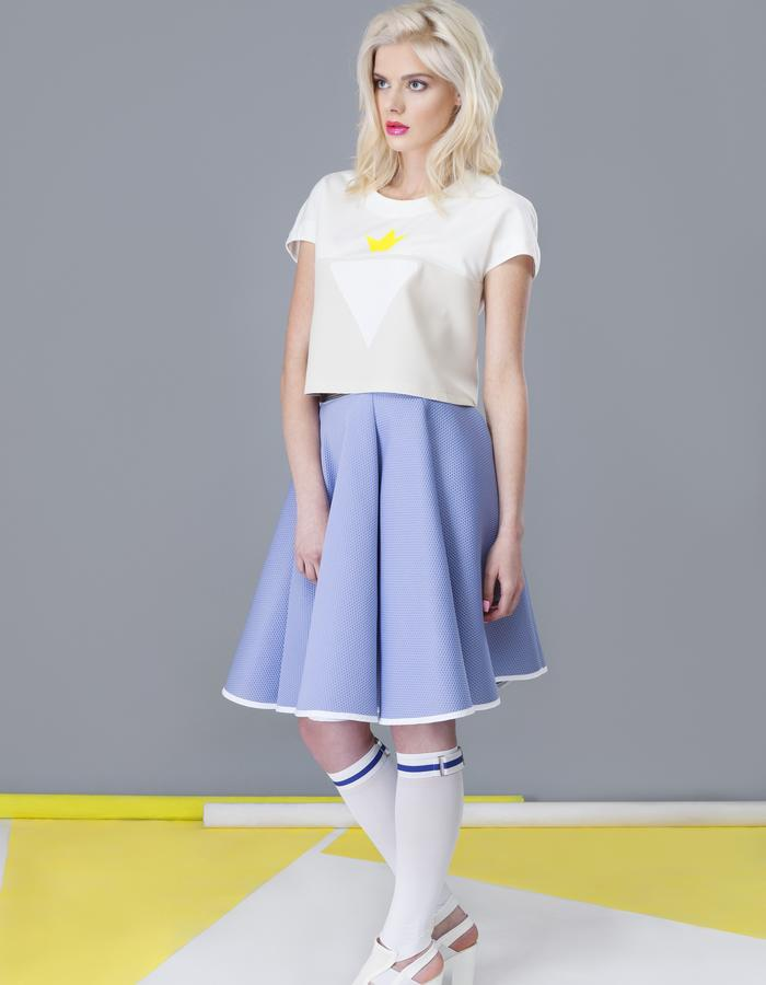 yellow strawberry crop top and violet flared skirt